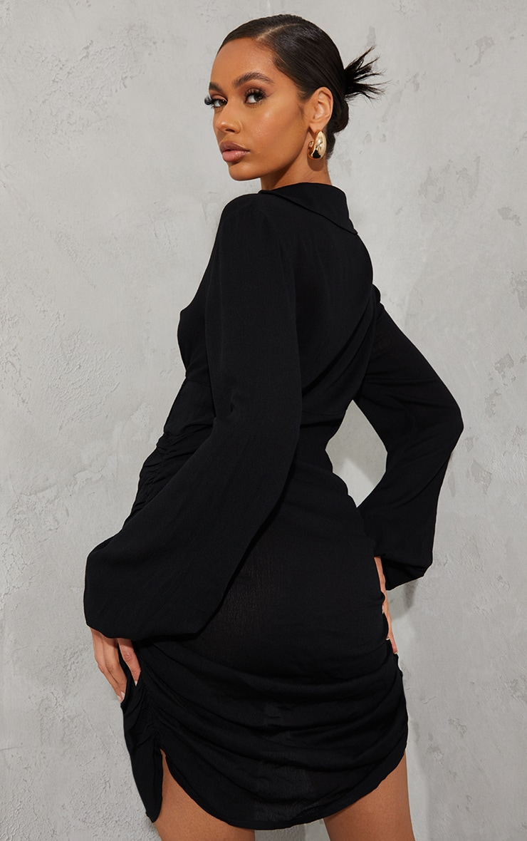 Black Textured Sheer Long Sleeve Lace Up Detail Bodycon Dress 2