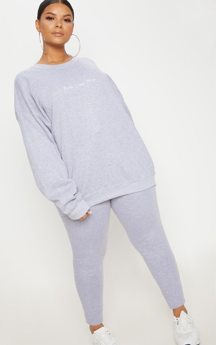 PLT Plus - Sweat oversize gris chiné PRETTYLITTLETHING 1