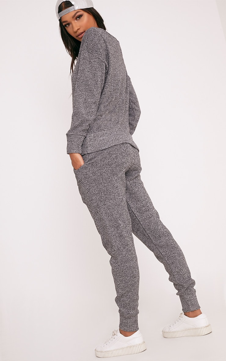 Grey Jogger Jumper Knitted Lounge Set 2