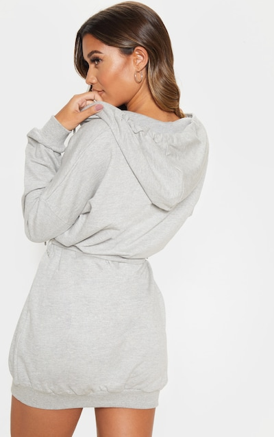 Grey Belted Hoodie Dress