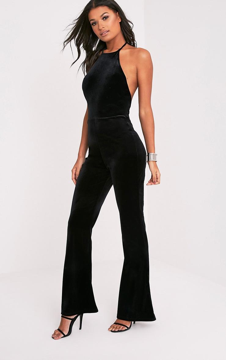 Erica Black Velvet Open Back Wide Leg Jumpsuit 5