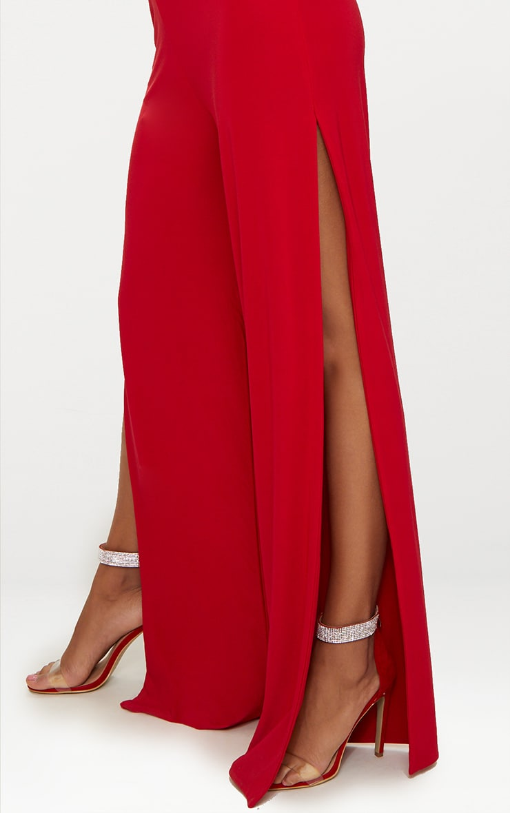 Red Split Leg Slinky Trousers 5