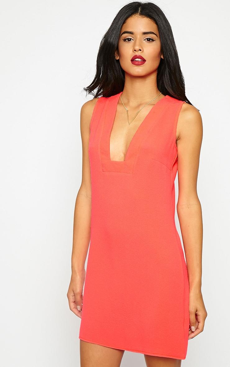 Jadako Neon Pink Sleeveless Loose Fit Square Neck Dress 1