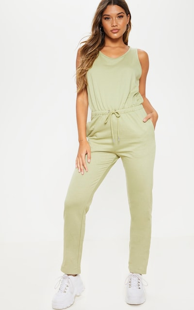 35f87a1f32edf Sage Green Tie Waist Sleeveless Sweat Jumpsuit