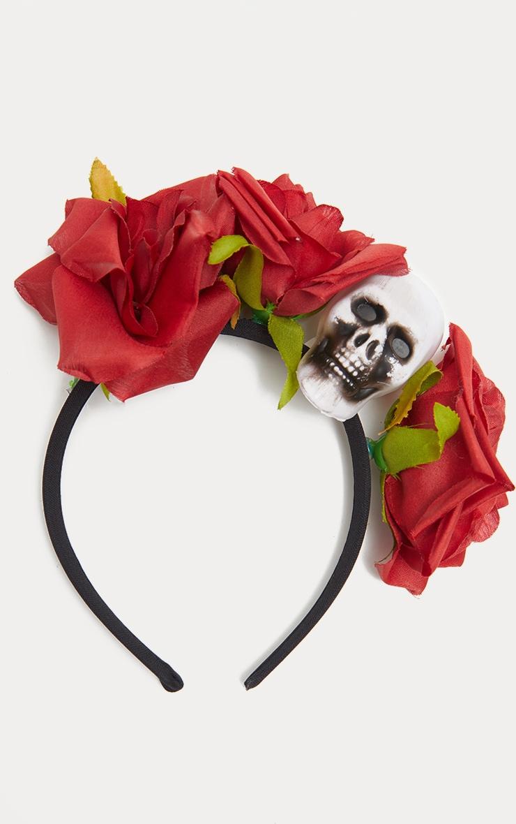 Red Day of the Dead Rose Skull Headband 2