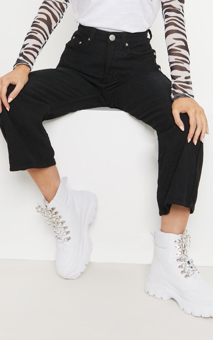 Black Cord Wide Leg Utility Cropped Jeans 5