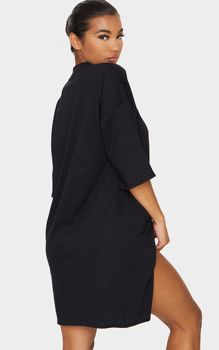 Black Split Oversized Boyfriend T Shirt Dress 2