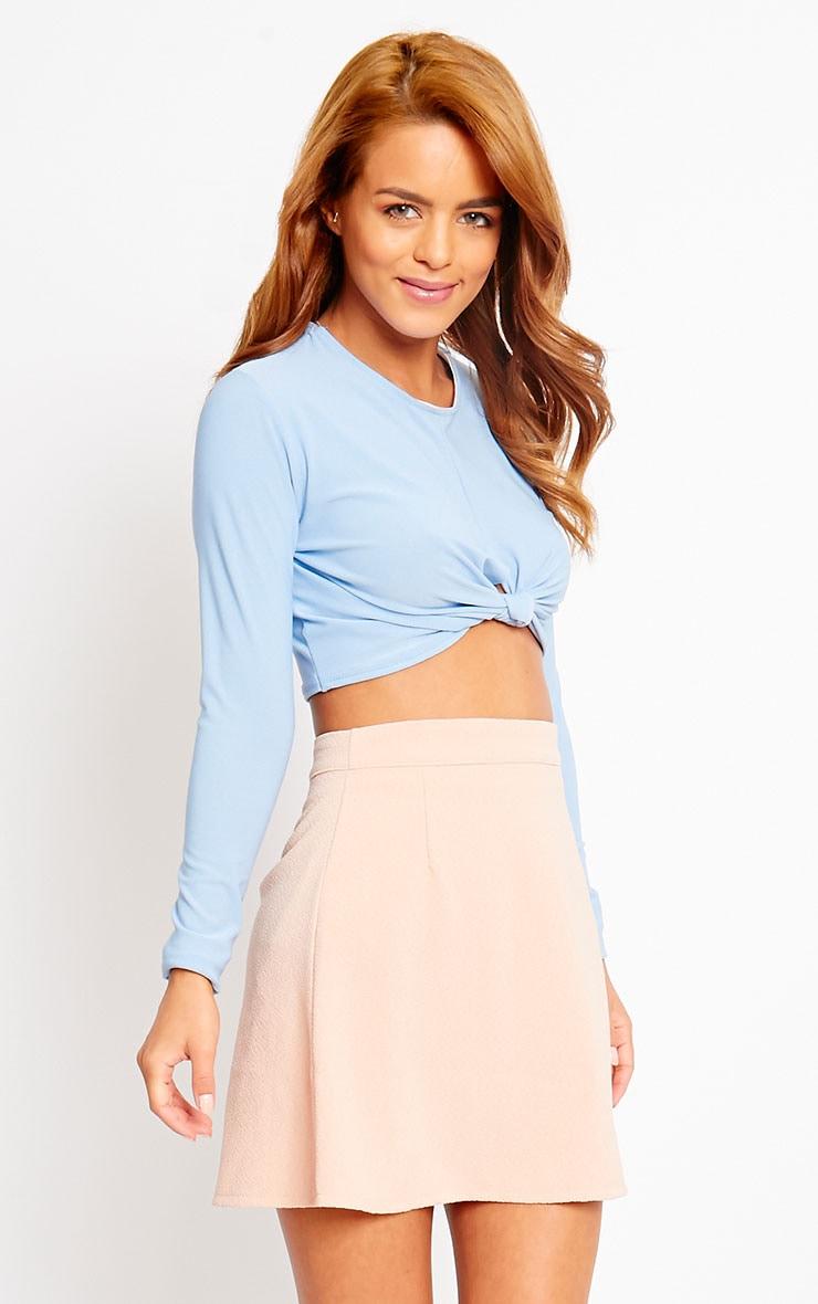 Rori Nude Crepe A Line Mini Skirt 1