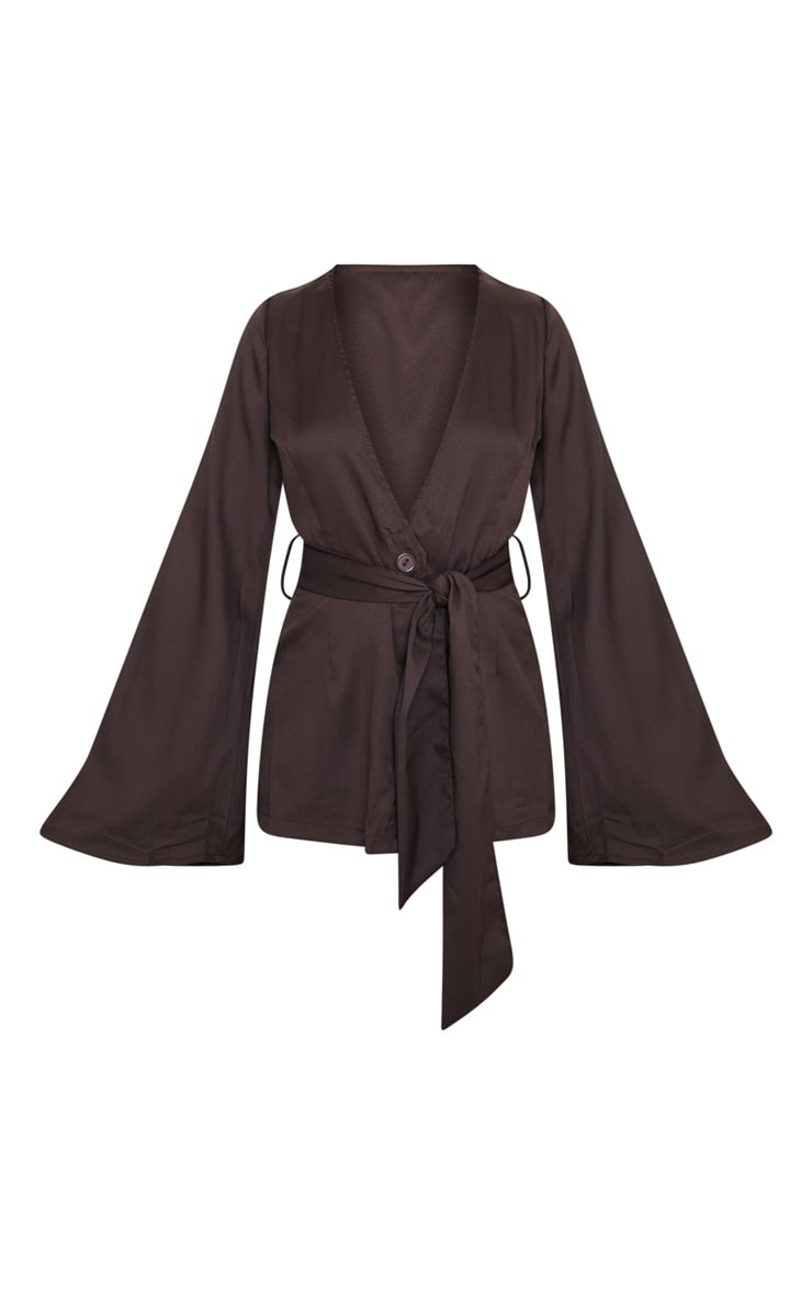 Petite Chocolate Brown Belt Detail Blazer 3