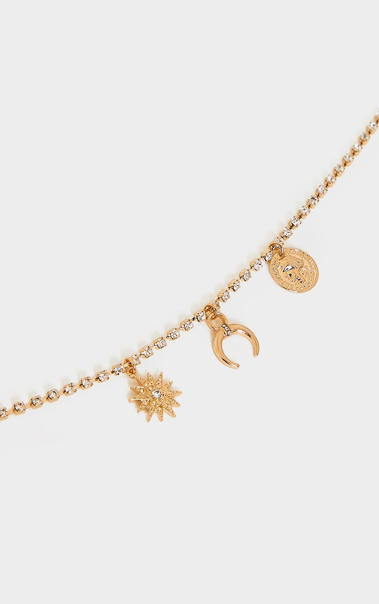Gold Diamante Pendant Anklet 3