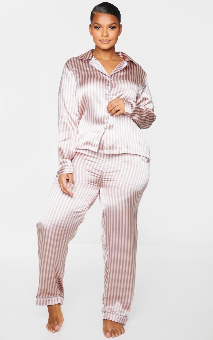 Plus Pink And Grey Stripe Long Satin PJ Set 3