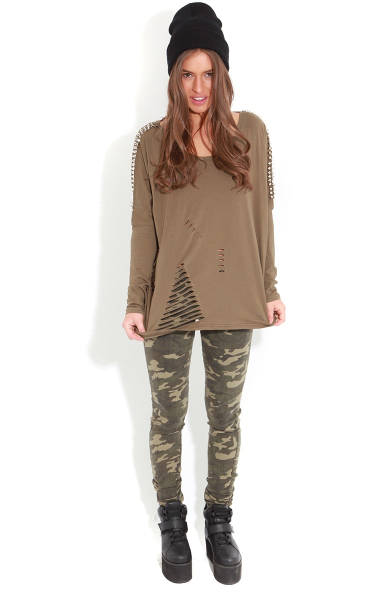 Maura Khaki Tee With Spike And Slit Detail 3