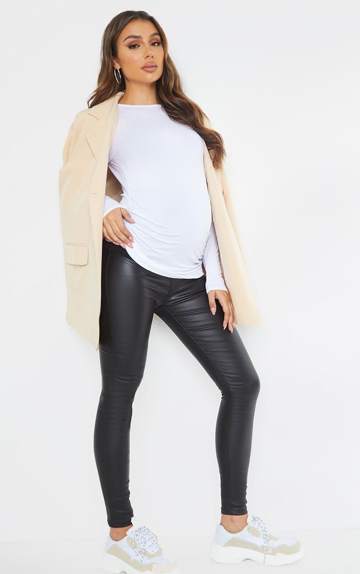 Maternity Black Coated Skinny Jeans 1