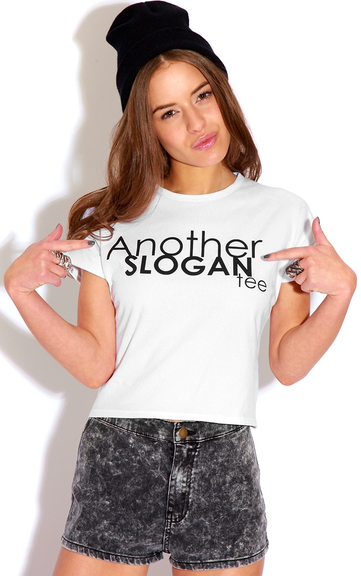 Cara White 'Another Slogan' T-Shirt 4