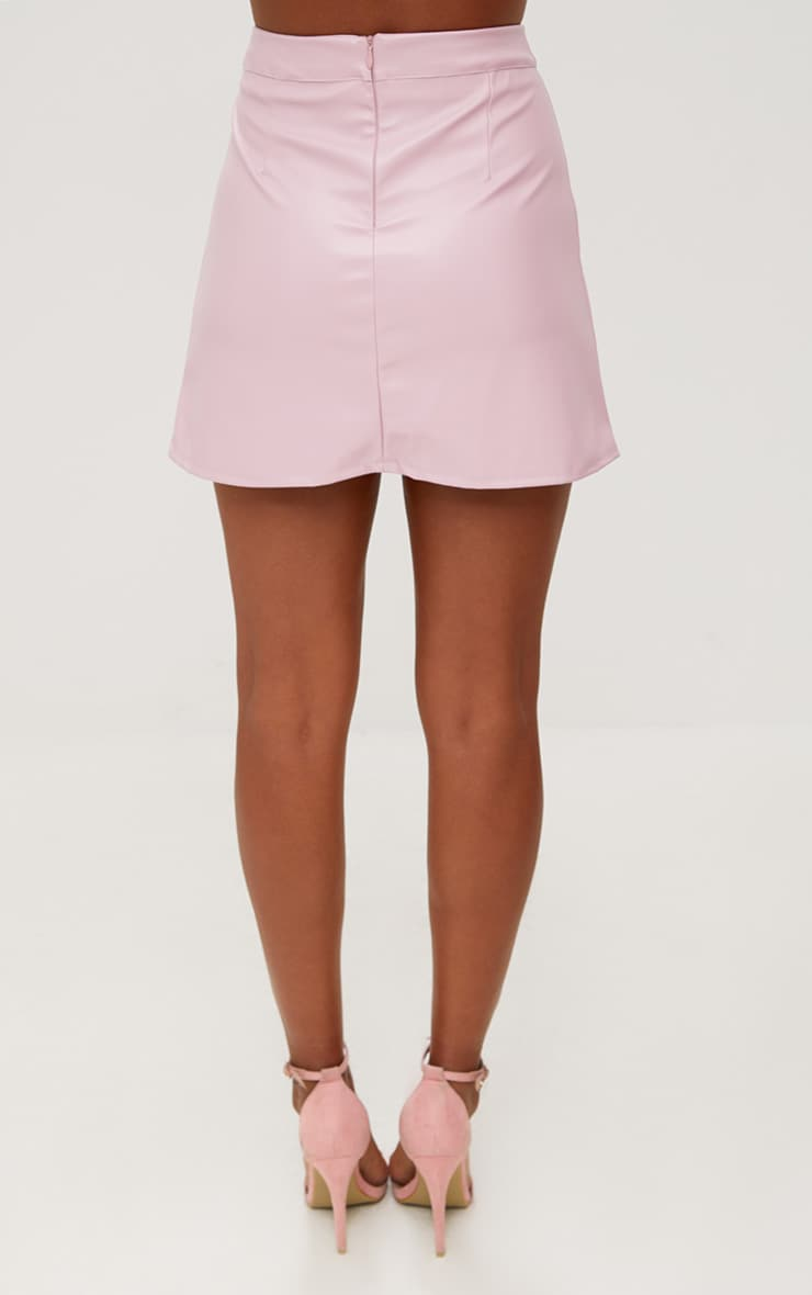 Rose Pink Faux Leather A-Line Mini Skirt 3