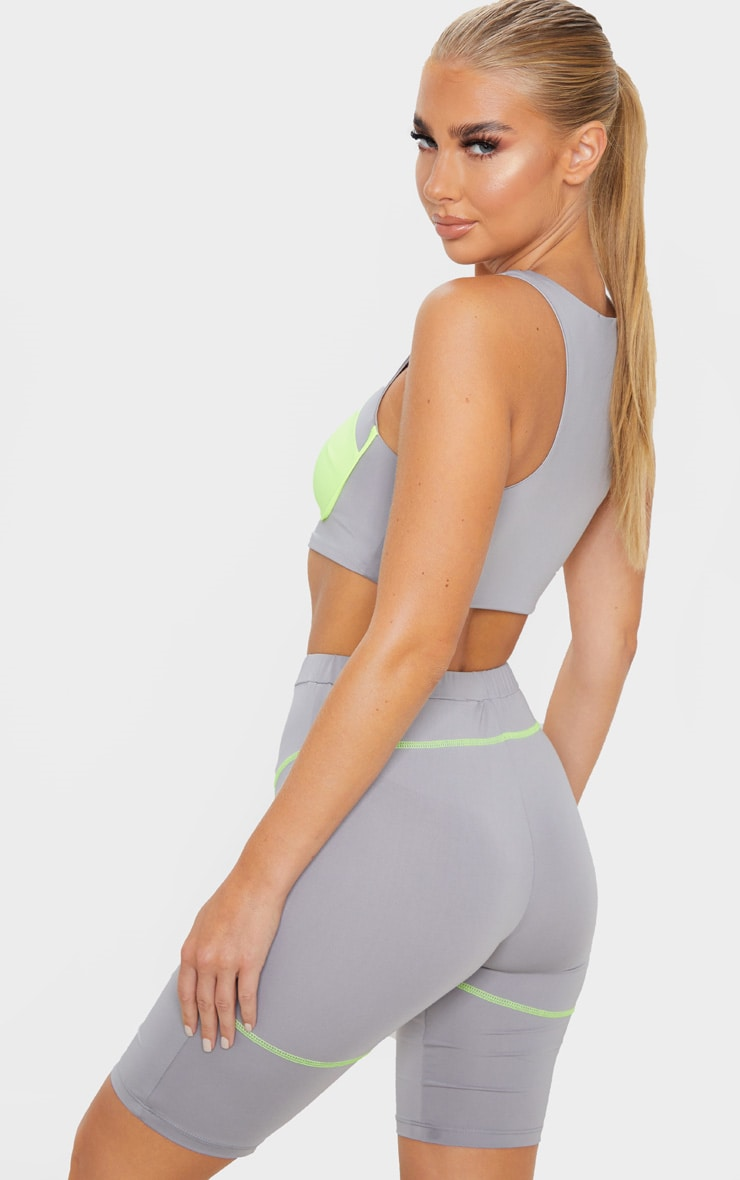 PRETTYLITTLETHING Grey Contrast Sport Crop Top 2