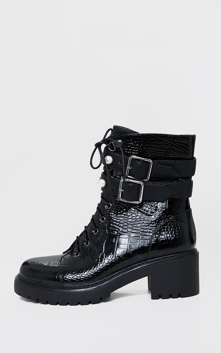 Black Snake Pu Pearl Trim Double Strap Biker Boots 4