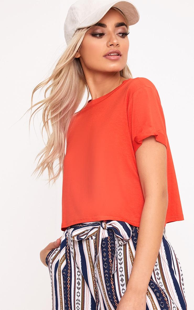 Basic Bright Orange Roll Sleeve Crop T Shirt  1
