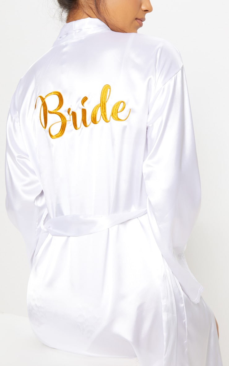White Bride Embroidered Back Satin Robe 5