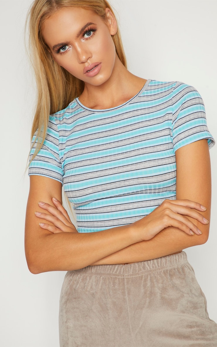 Blue Knitted Rib Top  5