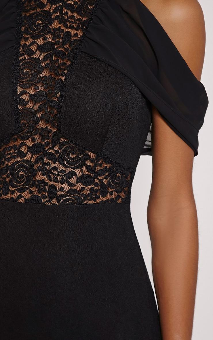 Taya Black Lace Insert Frill Midi Dress 5