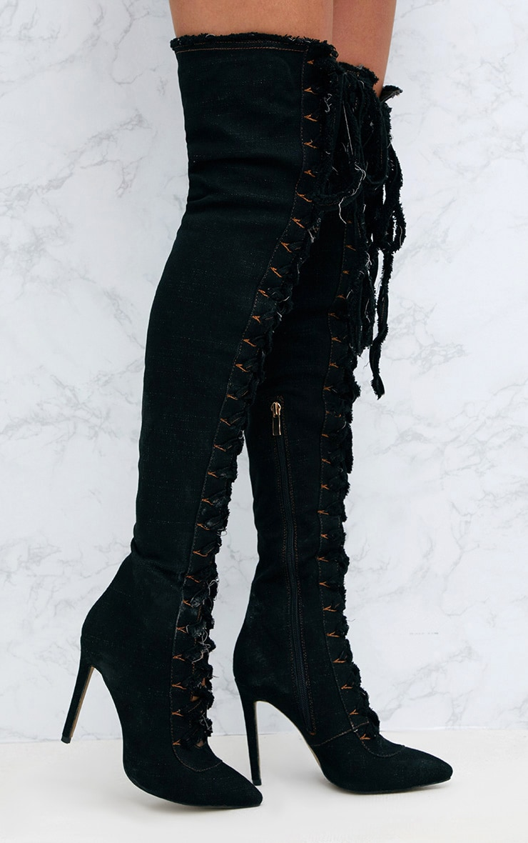 Black Frayed Denim Lace Up Thigh High Boots