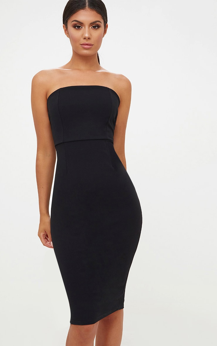 Black Bandeau Split Back Midi Dress 1