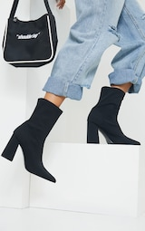 Black Wide Fit Block Heeled Point Toe Sock Boots 1