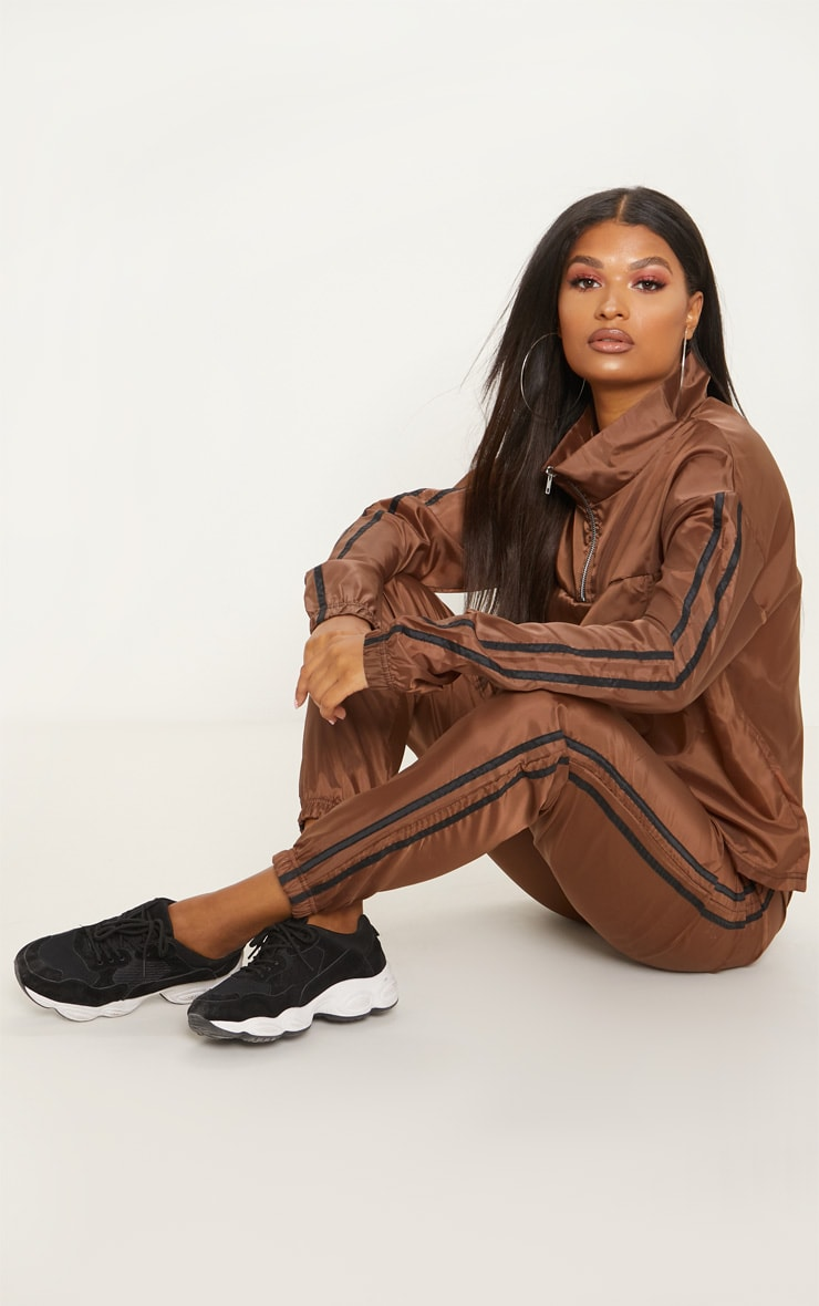 Chocolate Contrast Sport Stripe Zip Up Shell Top 3