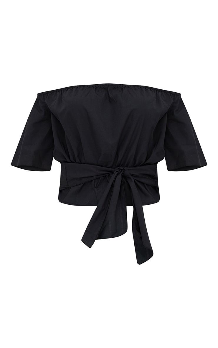 Black Shortsleeve Bardot Tie Waist Shirt 3