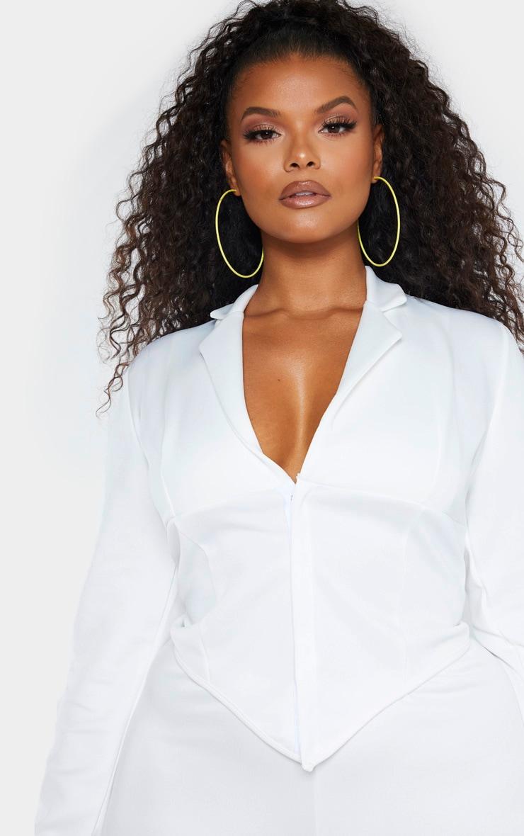 Plus White Collar Detail Long Sleeve Crop Shirt 5