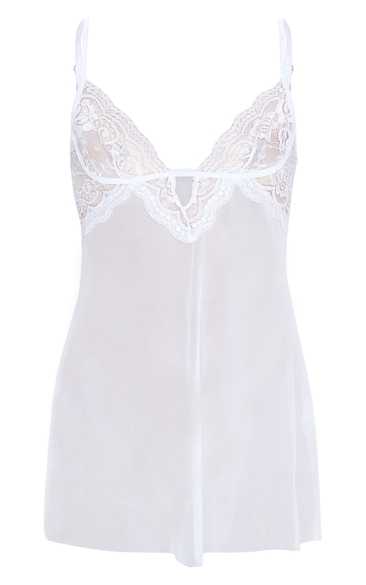 White Lace Embroided Mesh Babydoll Nightie 5