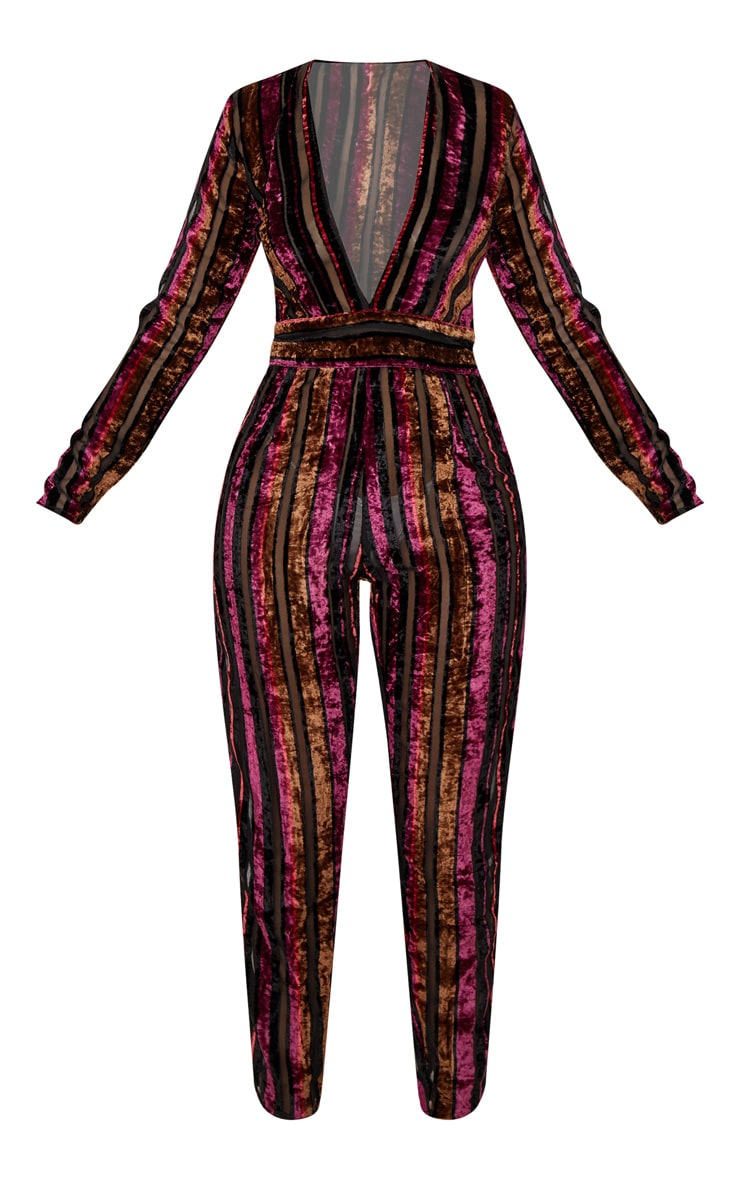 Burgundy Velvet Stripe Long Sleeve Plunge Jumpsuit 3