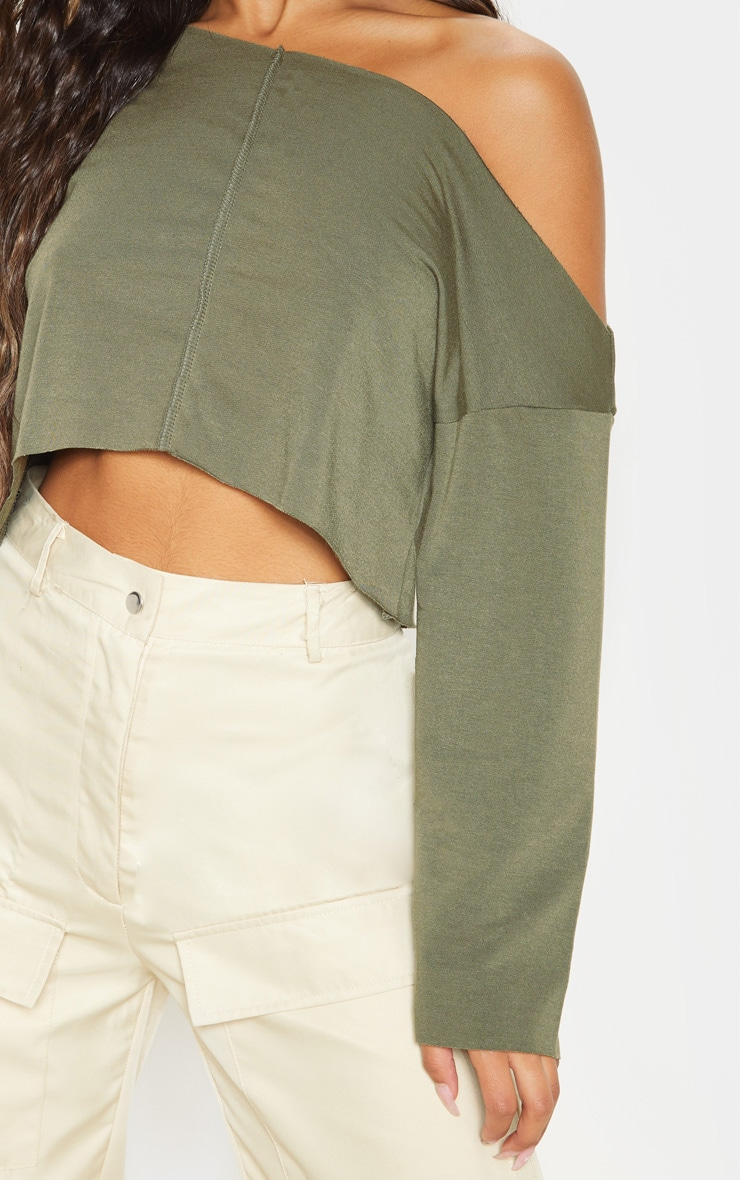 Hadley Khaki Off Shoulder Cropped Sweater 5