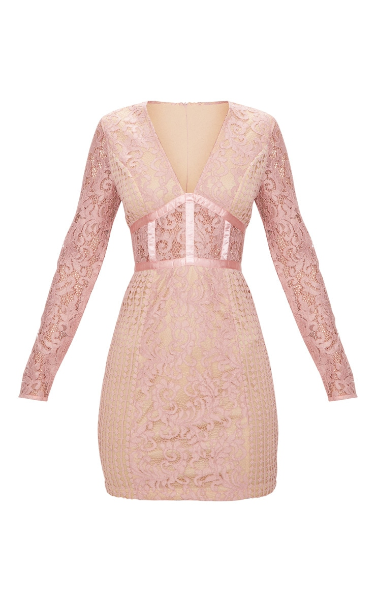 Dusty Pink Lace Panel Satin Piped Plunge Bodycon Dress 3