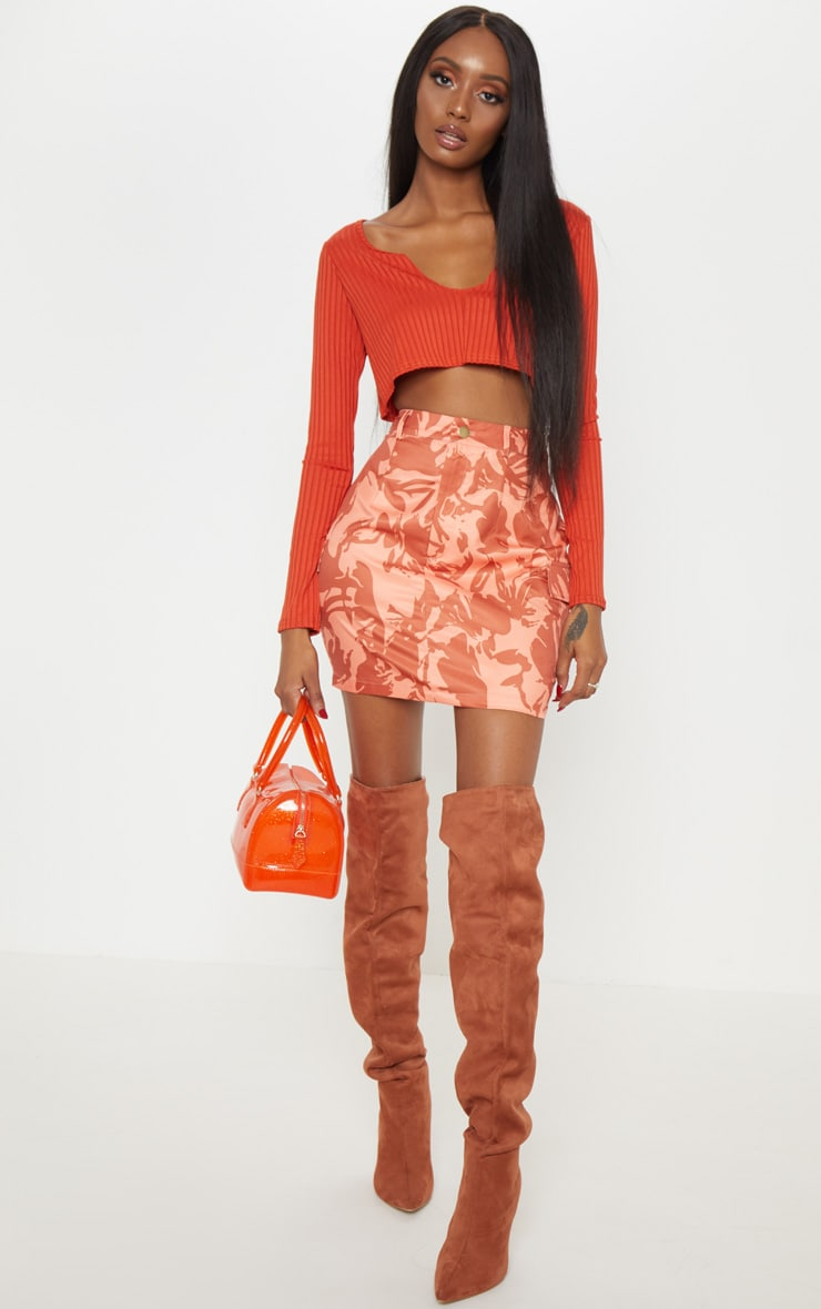 Burnt Orange Cargo Camo Mini Skirt