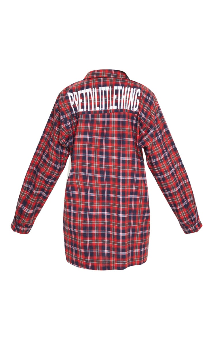 PRETTYLITTLETHING Red Slogan Checked Oversized Shirt Dress 4