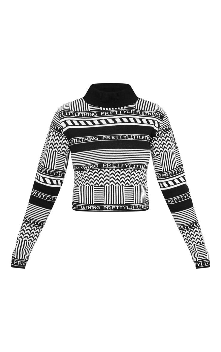 PRETTYLITTLETHING Black Knit Crop Sweater 3