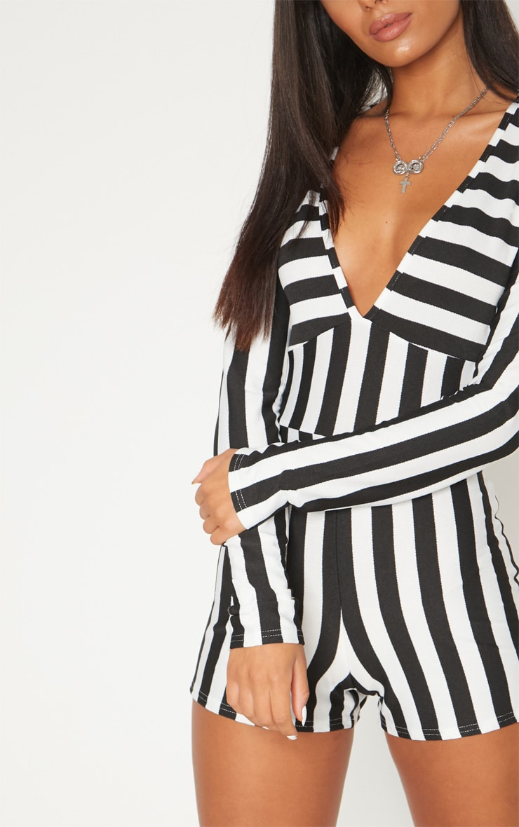 Monochrome Striped Long Sleeve Plunge Playsuit 5