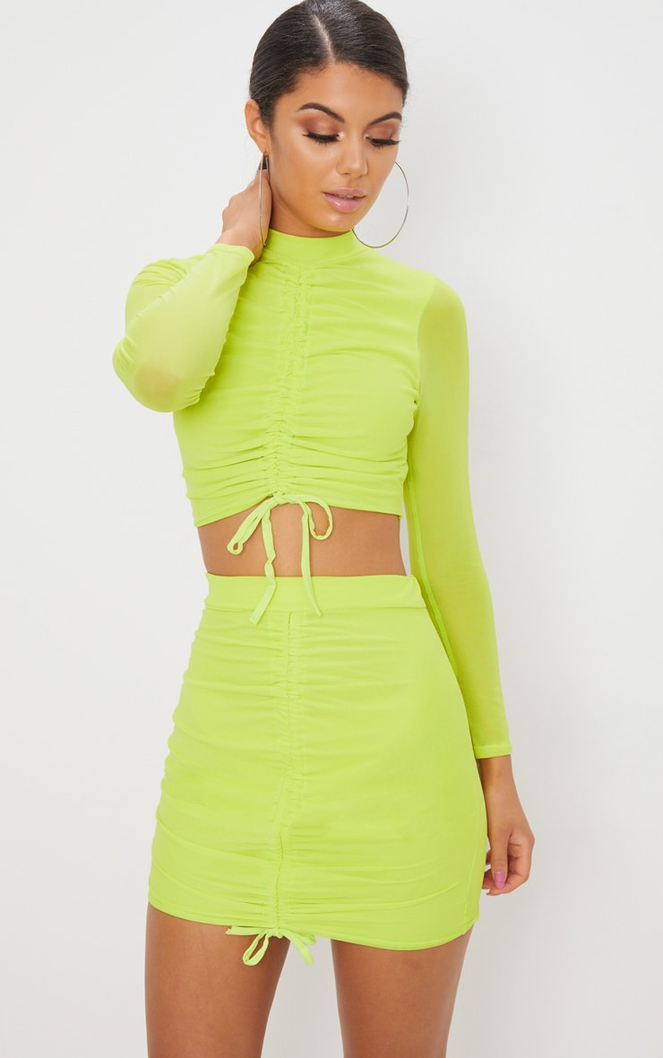 Lime Mesh Ruched Front Mini Skirt  7