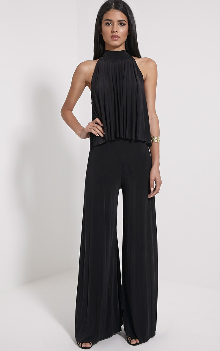 Samantha Black Slinky Pleated Wide Leg Trousers 1