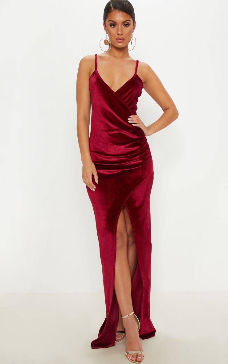 41d43b68411 burgundy-velvet-wrap-strappy-maxi-dress by prettylittlething