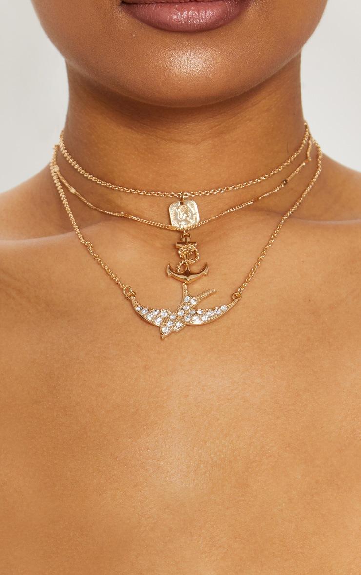 Gold Diamante Swallow Anchor Triple Layer Necklace 1