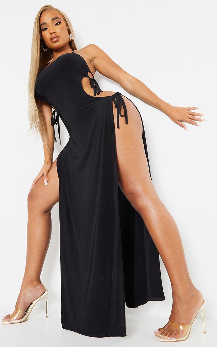 Shape Black Slinky Tie Side Extreme Split Maxi Dress 3
