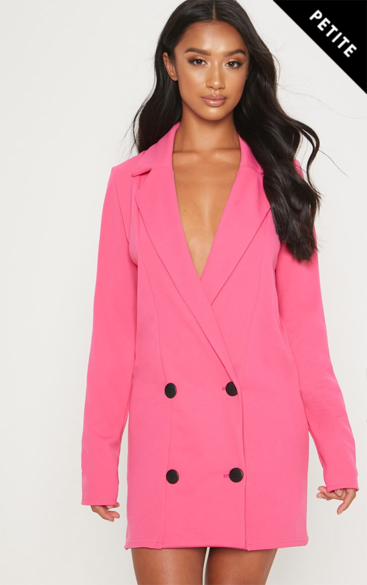 Petite Pink Button Detail Blazer Dress