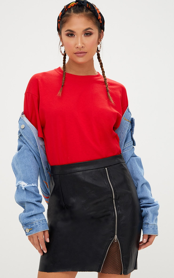 Black Fishnet Zip Split PU Mini Skirt 1