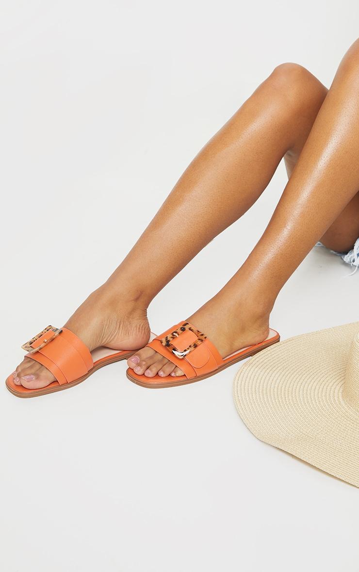 Orange Tortoise Buckle Mule Sandals 1