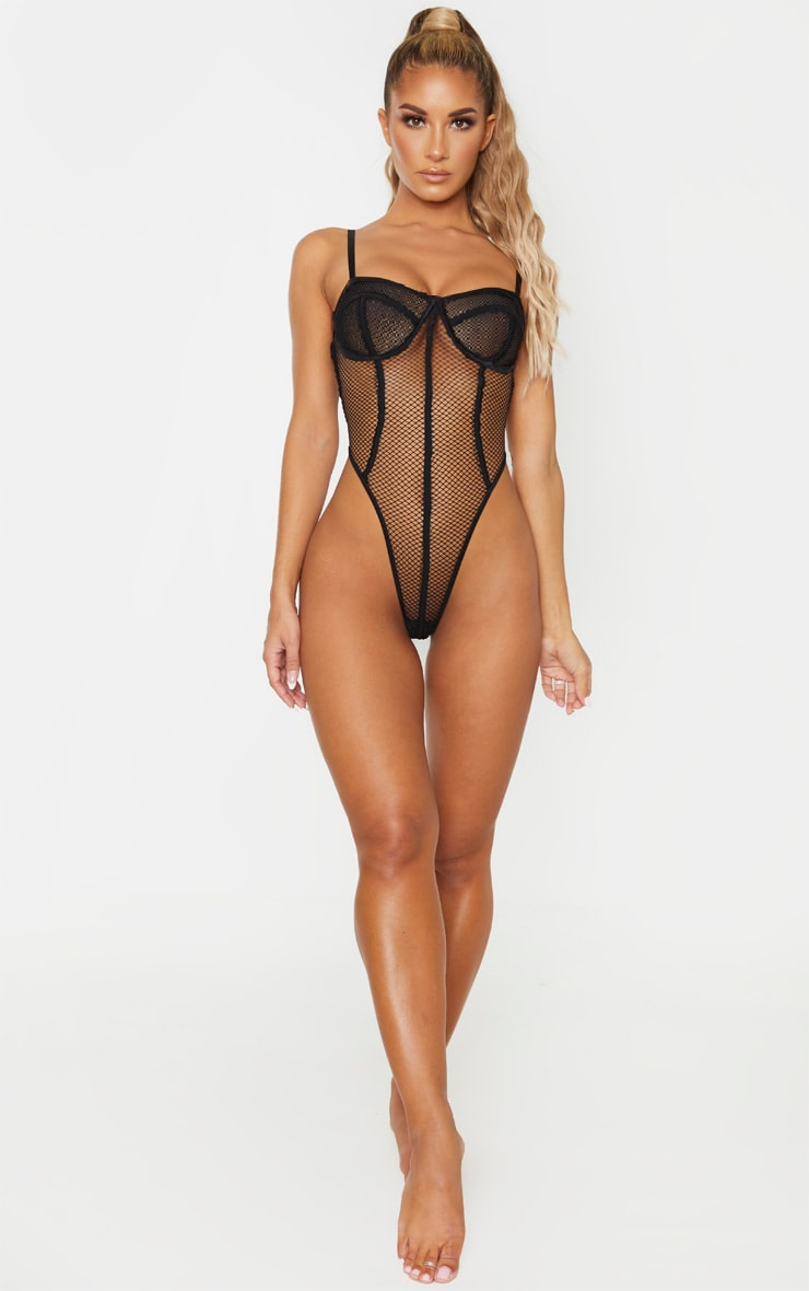 Black Contrast Fishnet High Leg Underwired Body 6
