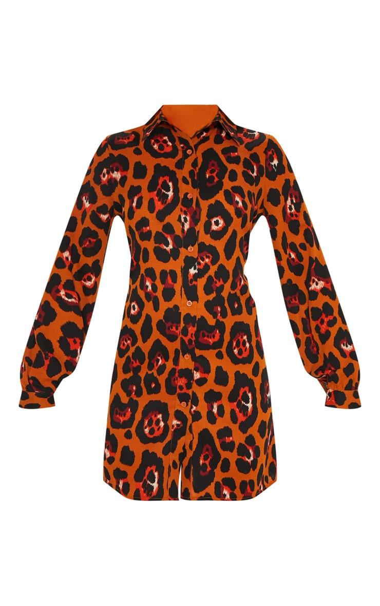 Burnt Orange Leopard Printed Shirt Dress 3