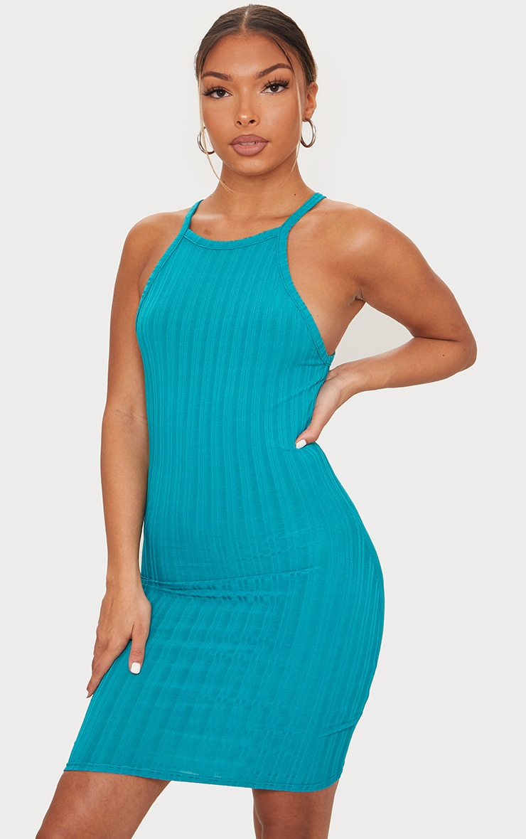 Teal Recycled Rib Racer Neck Bodycon Dress 1